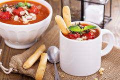 Tomato soup garnished with baked tomatoes Royalty Free Stock Images
