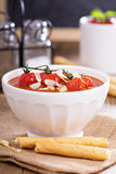Tomato soup garnished with baked tomatoes Royalty Free Stock Image
