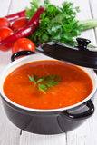 Tomato soup. Garnished with parsley Stock Image