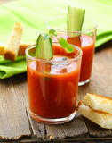 Tomato soup gazpacho with crackers Royalty Free Stock Photos