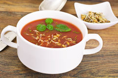 Tomato Soup with Germinated Grain in Plate. National Italian Cui Royalty Free Stock Images
