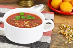 Tomato Soup with Germinated Grain in Plate. National Italian Cui Stock Photography