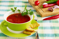 Tomato soup  in a green bowl Stock Image