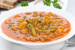 Tomato soup with green lentils and vegetables, close-up Royalty Free Stock Photos