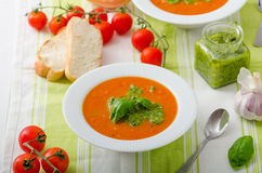 Tomato soup with gremolata Stock Photography