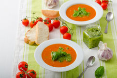 Tomato soup with gremolata Royalty Free Stock Photography