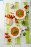 Tomato soup with gremolata Royalty Free Stock Images