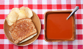 Tomato soup and grilled cheese Stock Image