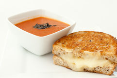 Tomato soup with grilled cheese Royalty Free Stock Photos