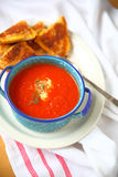 Tomato soup and grilled cheese vertical Royalty Free Stock Photo