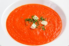 Tomato soup with herbs and cheese Royalty Free Stock Photos