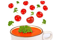 Tomato soup, herbs and tomatoes isolated on white Stock Photos