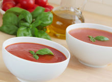 Tomato soup. Ingredients as tomatoes, olive oil and basil herbs on background. Close up view. Stock Image