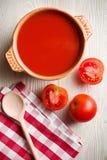 Tomato soup on kitchen table Stock Image