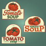 Tomato soup labels set Stock Photos