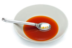 Tomato soup with letters pasta.  Royalty Free Stock Photos