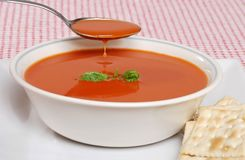 Tomato soup for lunch Royalty Free Stock Photo