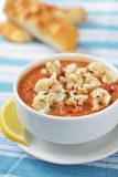 Tomato soup with manti Stock Image