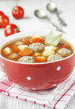 Tomato soup with meatballs Stock Photo