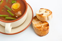 Tomato soup with meatballs Stock Photos