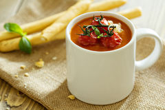 Tomato soup in a mug Stock Images