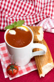 Tomato soup in a mug Royalty Free Stock Image