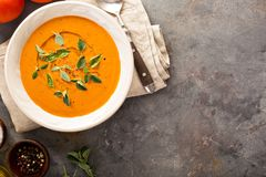 Tomato soup with olive oil and herbs Stock Images