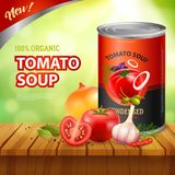 Tomato Soup Packshot Background Stock Images