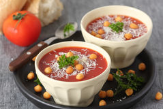 Tomato soup with parmesan Stock Photography