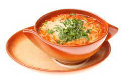 Tomato soup, parsley isolated white background Stock Images