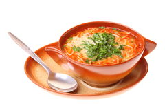 Tomato soup, parsley isolated white background Royalty Free Stock Images