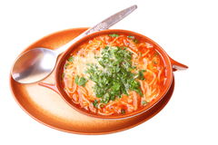 Tomato soup, parsley isolated white background Stock Photography