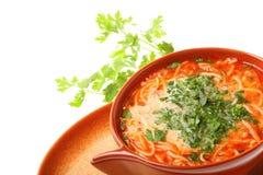 Tomato soup, parsley isolated white background Stock Images