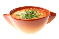 Tomato soup, parsley isolated white background Royalty Free Stock Photography