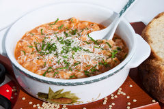 Tomato Soup With Pasta And Parmesan Royalty Free Stock Image