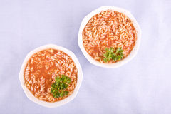 Tomato soup with pasta and parsley Stock Images