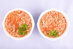 Tomato soup with pasta and parsley Stock Photography