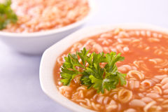 Tomato soup with pasta and parsley Royalty Free Stock Image