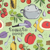 Tomato soup pattern Royalty Free Stock Photography