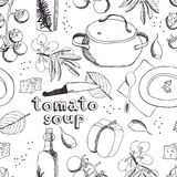 Tomato soup pattern stock illustration