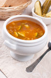 Tomato soup with pickles and olives Royalty Free Stock Image