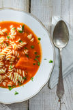 Tomato soup on a plate stock photography