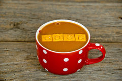 Tomato soup in polka dot soup mug Royalty Free Stock Images