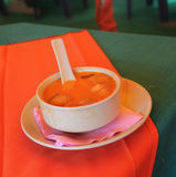 Tomato soup puree. Tomato soup with croutons sauce for breakfast in northern India Stock Photo