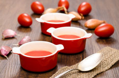 Tomato soup with red tomatoes Royalty Free Stock Photography