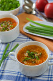 Tomato soup with rice and meat Stock Photos