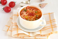Tomato soup with rice and vegetables Stock Image