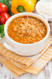 Tomato soup with rice and vegetables, vertical Royalty Free Stock Image