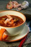Tomato soup with seafood. Royalty Free Stock Photo