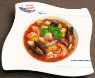 Tomato soup with seafood and fish Stock Photography